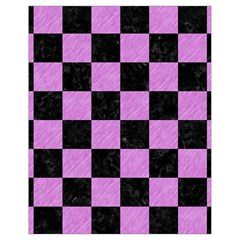 Square1 Black Marble & Purple Colored Pencil Drawstring Bag (small) by trendistuff