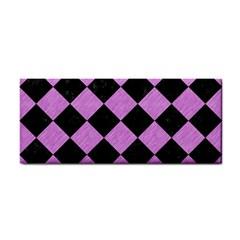 Square2 Black Marble & Purple Colored Pencil Cosmetic Storage Cases by trendistuff