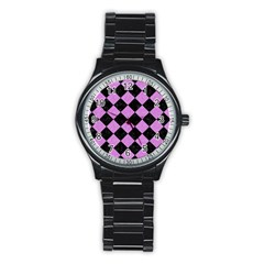 Square2 Black Marble & Purple Colored Pencil Stainless Steel Round Watch by trendistuff
