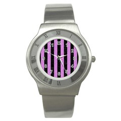 Stripes1 Black Marble & Purple Colored Pencil Stainless Steel Watch by trendistuff