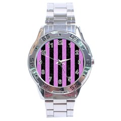 Stripes1 Black Marble & Purple Colored Pencil Stainless Steel Analogue Watch by trendistuff