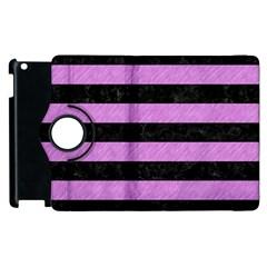 Stripes2 Black Marble & Purple Colored Pencil Apple Ipad 2 Flip 360 Case by trendistuff