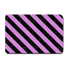 Stripes3 Black Marble & Purple Colored Pencil Small Doormat  by trendistuff
