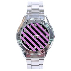 Stripes3 Black Marble & Purple Colored Pencil Stainless Steel Analogue Watch by trendistuff