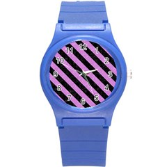 Stripes3 Black Marble & Purple Colored Pencil Round Plastic Sport Watch (s) by trendistuff