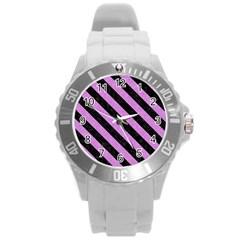Stripes3 Black Marble & Purple Colored Pencil Round Plastic Sport Watch (l) by trendistuff
