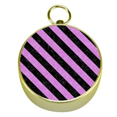 Stripes3 Black Marble & Purple Colored Pencil Gold Compasses by trendistuff