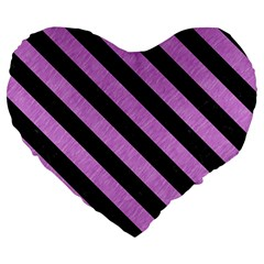 Stripes3 Black Marble & Purple Colored Pencil Large 19  Premium Flano Heart Shape Cushions by trendistuff