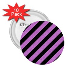 Stripes3 Black Marble & Purple Colored Pencil (r) 2 25  Buttons (10 Pack)  by trendistuff