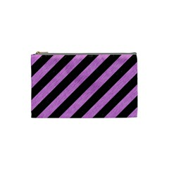 Stripes3 Black Marble & Purple Colored Pencil (r) Cosmetic Bag (small)  by trendistuff