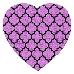 Tile1 Black Marble & Purple Colored Pencil Jigsaw Puzzle (heart) by trendistuff