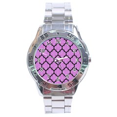 Tile1 Black Marble & Purple Colored Pencil Stainless Steel Analogue Watch by trendistuff