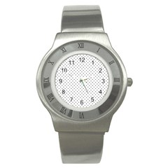 Classic Black Polka Dot Hearts Magic Color Swop Stainless Steel Watch by Beachlux