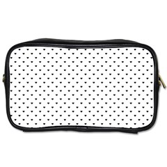 Classic Black Polka Dot Hearts Magic Color Swop Toiletries Bag (one Side) by Beachlux