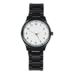 Classic Black Polka Dot Hearts Magic Color Swop Stainless Steel Round Watch by Beachlux