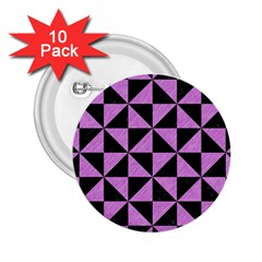 Triangle1 Black Marble & Purple Colored Pencil 2 25  Buttons (10 Pack)  by trendistuff