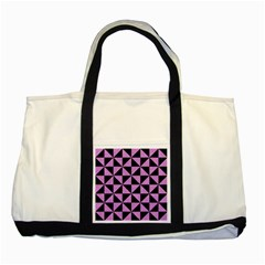 Triangle1 Black Marble & Purple Colored Pencil Two Tone Tote Bag by trendistuff