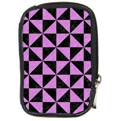 Triangle1 Black Marble & Purple Colored Pencil Compact Camera Cases by trendistuff