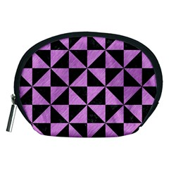 Triangle1 Black Marble & Purple Colored Pencil Accessory Pouches (medium)  by trendistuff