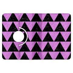Triangle2 Black Marble & Purple Colored Pencil Kindle Fire Hdx Flip 360 Case by trendistuff
