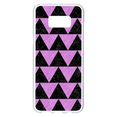 Triangle2 Black Marble & Purple Colored Pencil Samsung Galaxy S8 Plus White Seamless Case by trendistuff