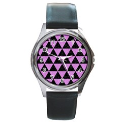 Triangle3 Black Marble & Purple Colored Pencil Round Metal Watch by trendistuff