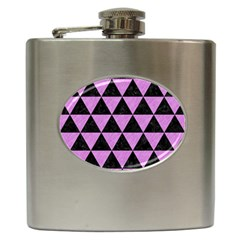 Triangle3 Black Marble & Purple Colored Pencil Hip Flask (6 Oz) by trendistuff