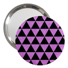 Triangle3 Black Marble & Purple Colored Pencil 3  Handbag Mirrors by trendistuff