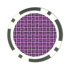 Woven1 Black Marble & Purple Colored Pencil Poker Chip Card Guard by trendistuff