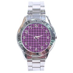 Woven1 Black Marble & Purple Colored Pencil Stainless Steel Analogue Watch by trendistuff