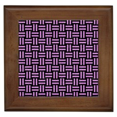 Woven1 Black Marble & Purple Colored Pencil (r) Framed Tiles by trendistuff