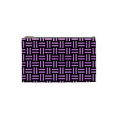 Woven1 Black Marble & Purple Colored Pencil (r) Cosmetic Bag (small)  by trendistuff