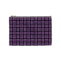 Woven1 Black Marble & Purple Colored Pencil (r) Cosmetic Bag (medium)  by trendistuff