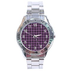 Woven1 Black Marble & Purple Colored Pencil (r) Stainless Steel Analogue Watch by trendistuff