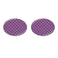 Woven2 Black Marble & Purple Colored Pencil Cufflinks (oval) by trendistuff