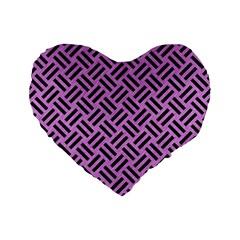 Woven2 Black Marble & Purple Colored Pencil Standard 16  Premium Flano Heart Shape Cushions by trendistuff