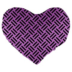 Woven2 Black Marble & Purple Colored Pencil Large 19  Premium Flano Heart Shape Cushions by trendistuff