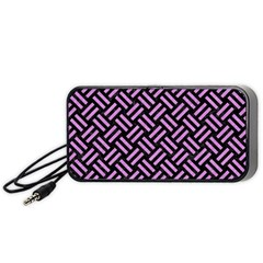 Woven2 Black Marble & Purple Colored Pencil (r) Portable Speaker by trendistuff