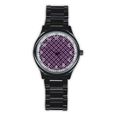 Woven2 Black Marble & Purple Colored Pencil (r) Stainless Steel Round Watch by trendistuff