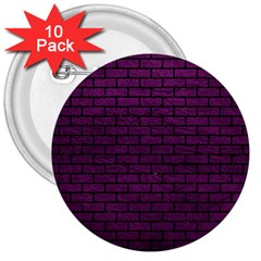 Brick1 Black Marble & Purple Leather 3  Buttons (10 Pack)  by trendistuff