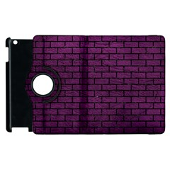 Brick1 Black Marble & Purple Leather Apple Ipad 2 Flip 360 Case by trendistuff
