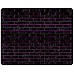 Brick1 Black Marble & Purple Leather (r) Fleece Blanket (medium)  by trendistuff