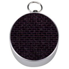 Brick1 Black Marble & Purple Leather (r) Silver Compasses by trendistuff