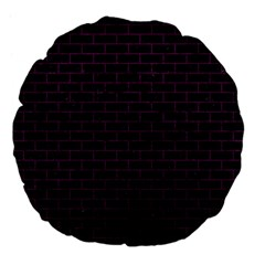 Brick1 Black Marble & Purple Leather (r) Large 18  Premium Flano Round Cushions by trendistuff