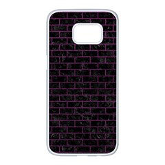 Brick1 Black Marble & Purple Leather (r) Samsung Galaxy S7 Edge White Seamless Case by trendistuff