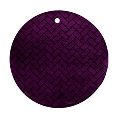 Brick2 Black Marble & Purple Leather Ornament (round) by trendistuff