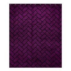 Brick2 Black Marble & Purple Leather Shower Curtain 60  X 72  (medium)  by trendistuff