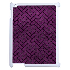 Brick2 Black Marble & Purple Leather Apple Ipad 2 Case (white) by trendistuff