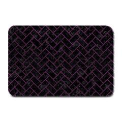 Brick2 Black Marble & Purple Leather (r) Plate Mats by trendistuff
