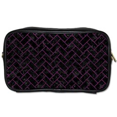 Brick2 Black Marble & Purple Leather (r) Toiletries Bags by trendistuff